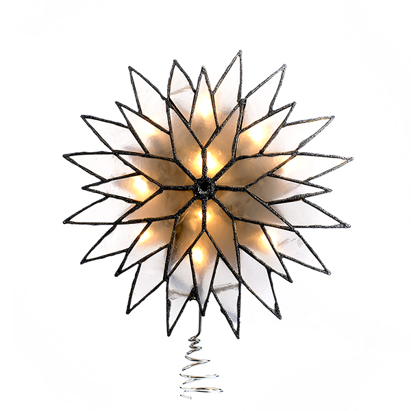 Kurt Adler Silver Sunburst Capiz Lighted Tree Topper
