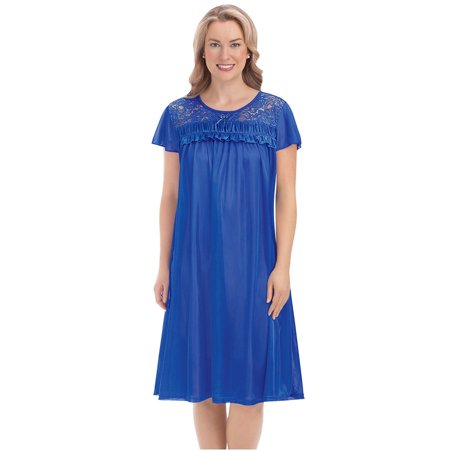 Women's Lace Yoke Tricot Soft Silk Nightgown with Scoop Neckline and Flutter Short Sleeves, Large, Royal Blue
