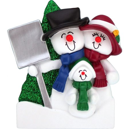 Snowman Family 1 kid Personalized Christmas Ornament DO-IT-YOURSELF ()
