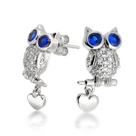 Cz Simulated Shire September Birthstone Owl Stud Earrings 925 Sterling Silver 22mm