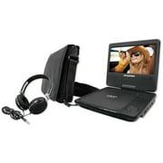 "Sylvania 7"" Swivel Screen Portable DVD Player Bundle, SDVD7060-COMBO-BLACK"
