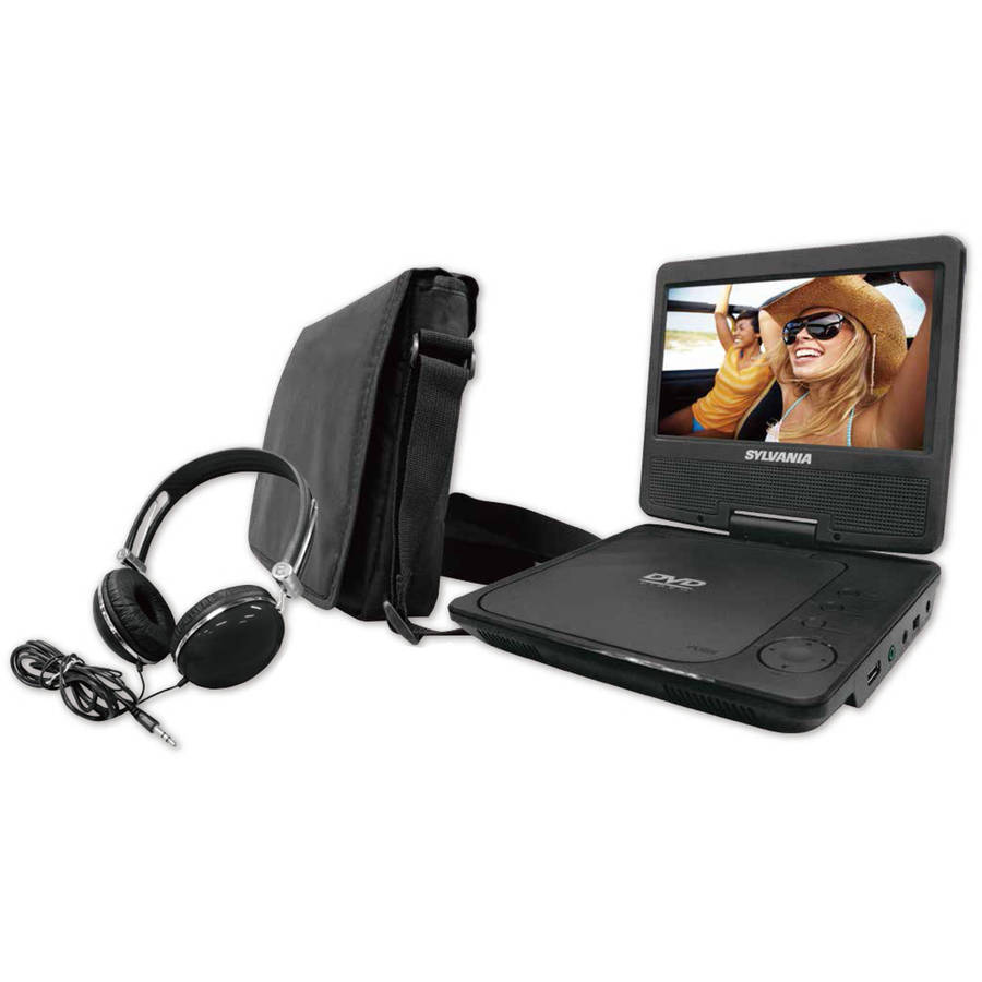 "Sylvania SDVD7060-COMBO-BLACK Black 7"" Swivel-Screen Portable DVD Player"