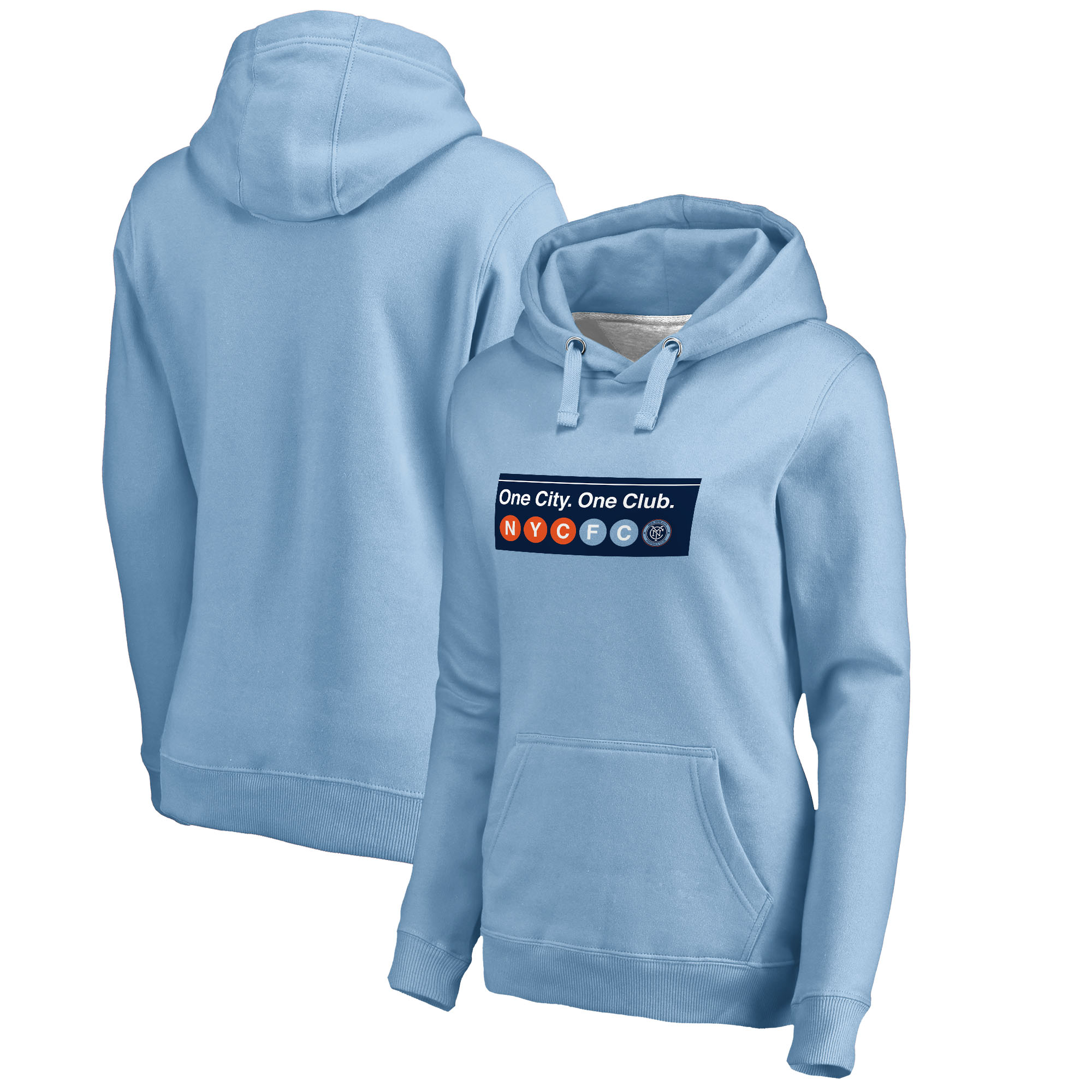 new arrivals bcfd0 957b1 New York City FC Fanatics Branded Women's Hometown Collection Pullover  Hoodie - Light Blue