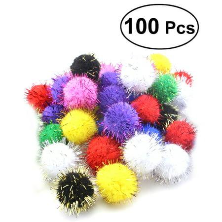 - 100pcs 20mm Cat Toys Assorted Pom Poms Fluffy Balls for DIY Creative Crafts Decorations (Mix Color)