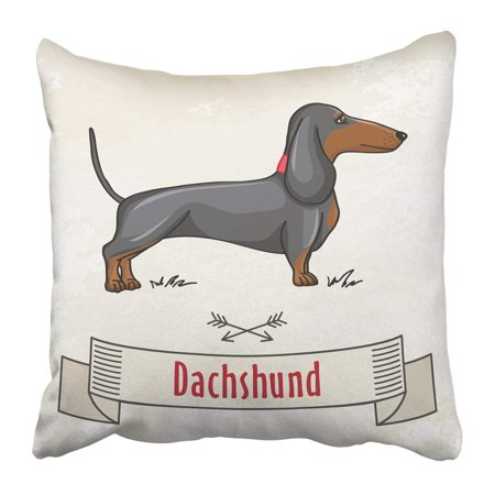 - ARTJIA Black Sausage Dachshund Hunting Cute Dog Cartoon Brown Drawing Animal Breed Funny Hound Pet Puppy Pillowcase Pillow Cover 16x16 inches