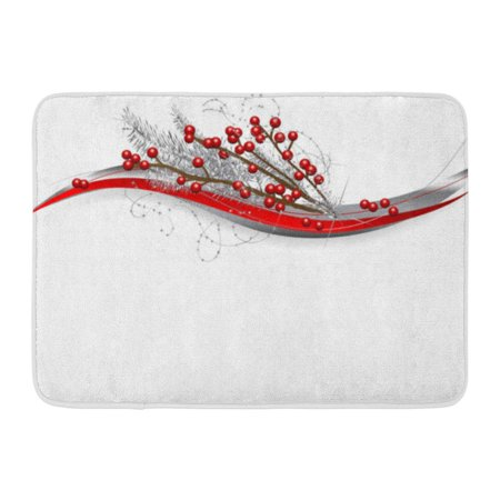 GODPOK Branch Green Bow Red Christmas Berries and Silver Needles White Berry Brilliancy Rug Doormat Bath Mat 23.6x15.7 inch ()