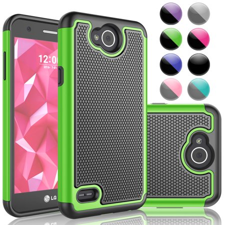 Njjex Cases for LG X Power 2 / X Power 3 / X Power / X Charge / X Charge 2 / Fiesta LTE / V7 / K10 Power / X5 2018, Rugged Rubber Shock Absorbing Slim Hard Grip Case Cover -Green