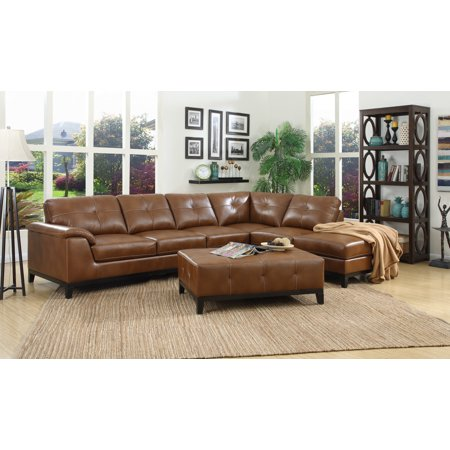 Emerald Home Marquis Chestnut Brown Sectional with Faux Leather Upholstery, Padded Arms, And Contrast Stitching