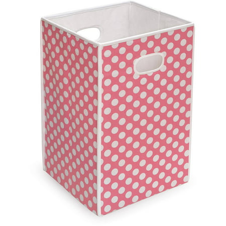 Badger Basket - Folding Hamper/Storage Bin, Pink with White Polka Dots