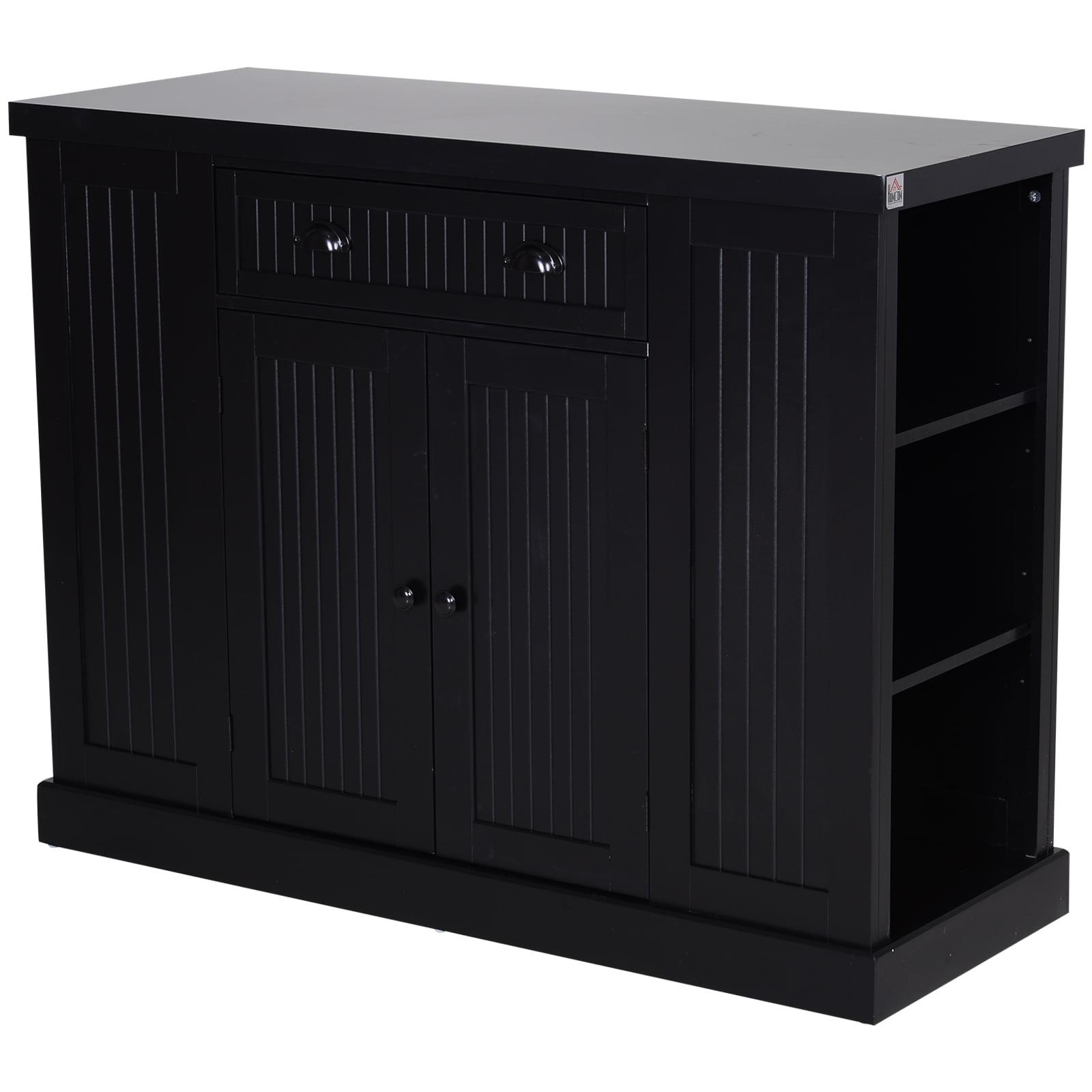 HOMCOM Fluted-Style Wooden Kitchen Island Storage Cabinet ...