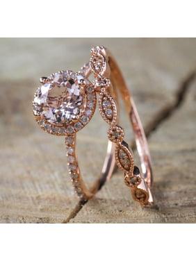 d9e7626fc Product Image Antique Vintage Design Milgrain 2 carat Round Morganite and  Diamond Halo Bridal Wedding Ring Set in
