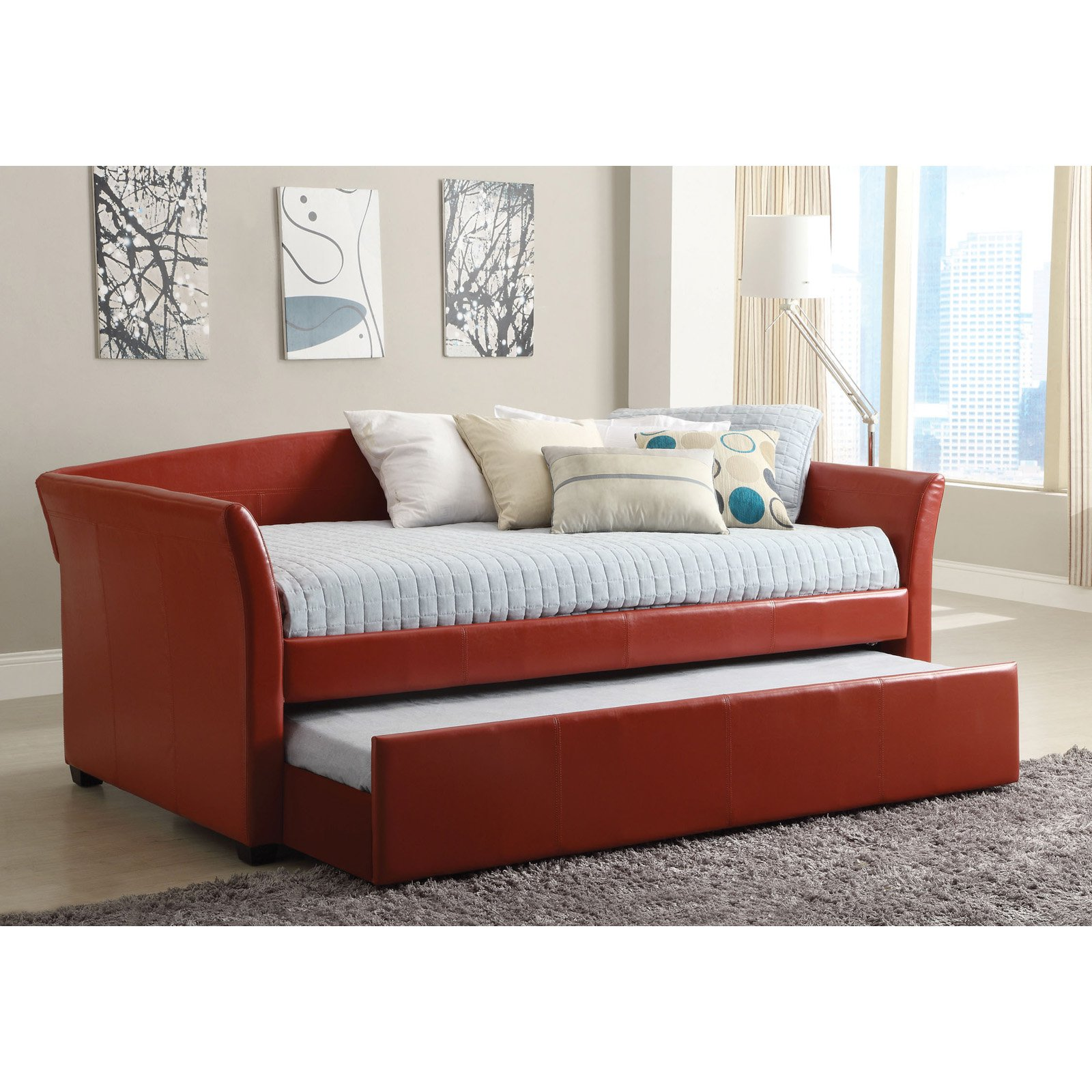 Furniture of america contemporary leatherette upholstered daybed with trundle walmart com