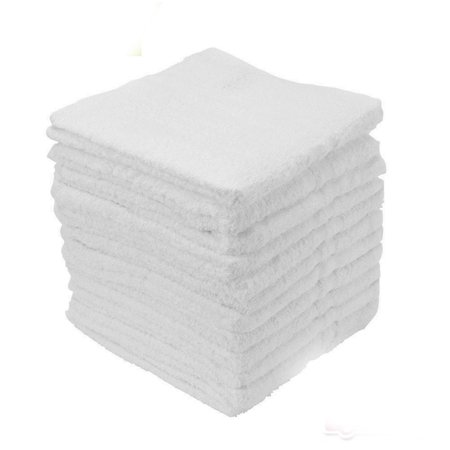 "GHP 150-Pcs White 12""x12"" 100% Cotton Terry Cloth Singel Cam Border Cleaning Towels"