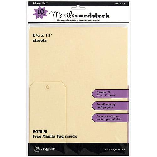 "Ranger Inkssentials Manila Cardstock, 8.5"" X 11"", 10/Pkg"