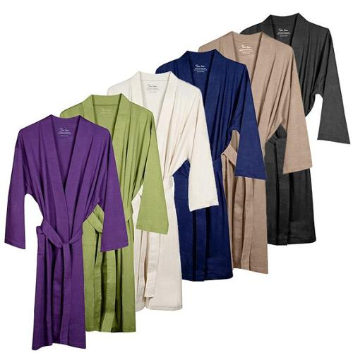 Pure Fiber Unisex Organic Combed Cotton Jersey Bath Robe