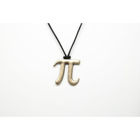 Pi Symbol Unisex Necklace with Black Cord