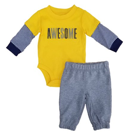 Carters Infant Boys 2-Piece Awesome Long Sleeve Bodysuit & Pants - Awesome Anime Outfits