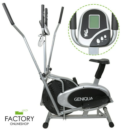 Geniqua 2 in 1 Elliptical Bike Cross Trainer Exercise Fitness Workout Gym Cardio Machine