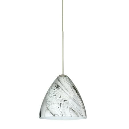 Besa Lighting 1XT-1779MG Mia 1-Light Halogen Cord-Hung Mini Pendant with Marble Grigio Glass Shade