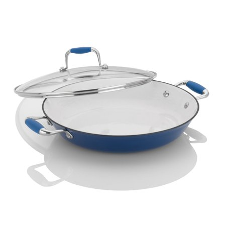 Fagor Michelle B. 12-Inch Cast Iron Lite Chef's Pan with Glass Lid, Blue