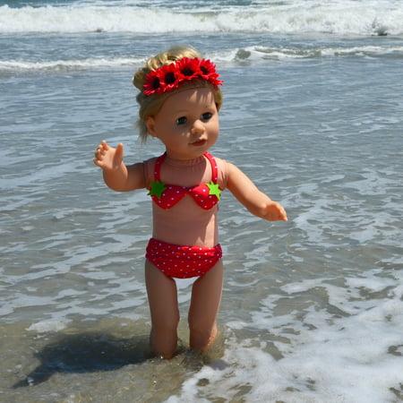 Strawberry Bikini Swim Set for 18 Inch Dolls