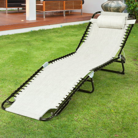 Gymax Foldable Lounge Chaise Adjustable Patio Camping Cot w/ Pillow Black / Gray