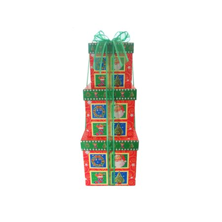 Square Nested Boxes ? Ribbon and 3 Boxes Total for Baby Shower, Weddings, Presents or Christmas (Square Santa / Green Ribbon) - Present Boxes