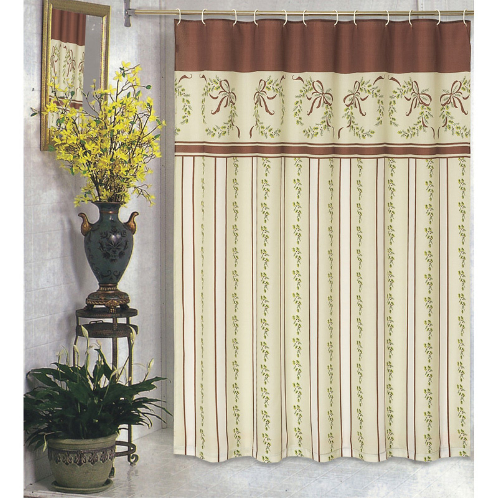 Carnation Home Fashions Victorian Christmas Fabric Shower Curtain ...