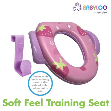 Babyloo Soft Cushion Toilet Seat for Children and Toddlers - Comfortable Potty Training seat | Hook and Handle Included (Purple Cushion)