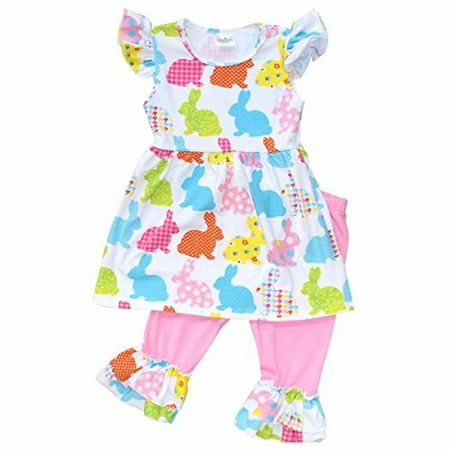 Unique Baby Girls Patterned Easter Bunny Easter Outfit (5T/L, Pink) (Easter For Toddlers)