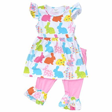 Unique Baby Girls Patterned Easter Bunny Easter Outfit (5T/L, Pink)](Easter Chick Baby Outfit)