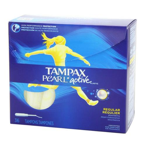 Tampax Pearl Active Plastic Unscented Tampons, Regular Absorbency 36 ea (Pack of 4)