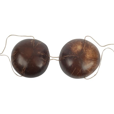Genuine Authentic Hula Girl Coconut Bra Bikini Top, Brown, One Size](Luau Coconut Bra)