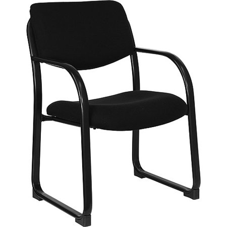 Fabric Upholstered Executive Guest and Reception Waiting Room Chair, Black