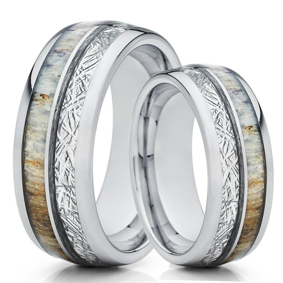 Silly Kings Jewelry His And Hers Deer Antler Ring Meteorite