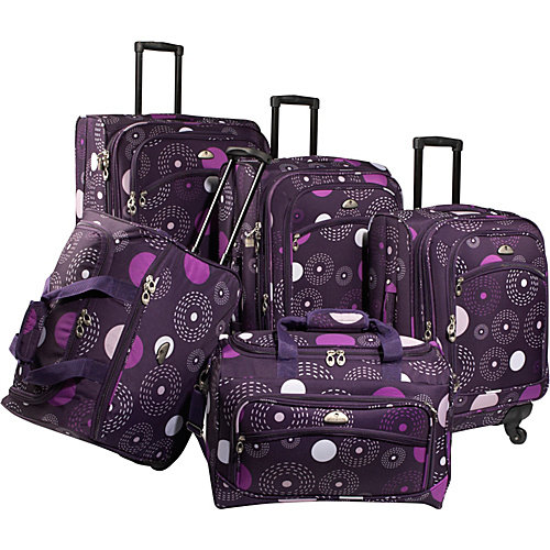 American Flyer Fireworks 5 Piece Spinner Luggage Set