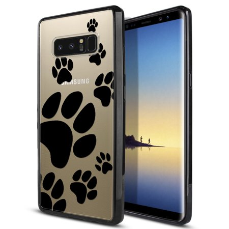 FINCIBO Slim TPU Bumper + Clear Hard Back Cover for Samsung Galaxy Note 8, Dog Paw