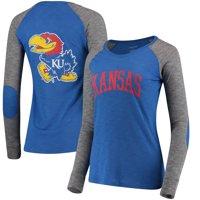 Kansas Jayhawks Women's Preppy Elbow Patch 2-Hit Arch and Logo Long Sleeve T-Shirt - Royal/Gray