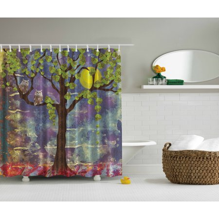 Owls Home Decor Artistic Night Lemon Tree Leaves Full Moonlight Shower Curtai