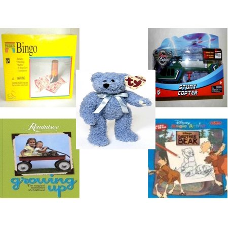 Chi Bears - Children's Gift Bundle [5 Piece] -  Pavilion Bingo  - Kidz Tech The Stunt Copter Aerobatics Helecopter  - Ty Attic Treasures Bluebeary The Bear 8