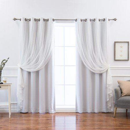 Best Home Fashion Mix and Match Pastel Blackout and Colored Tulle Grommet 4 Piece Curtain