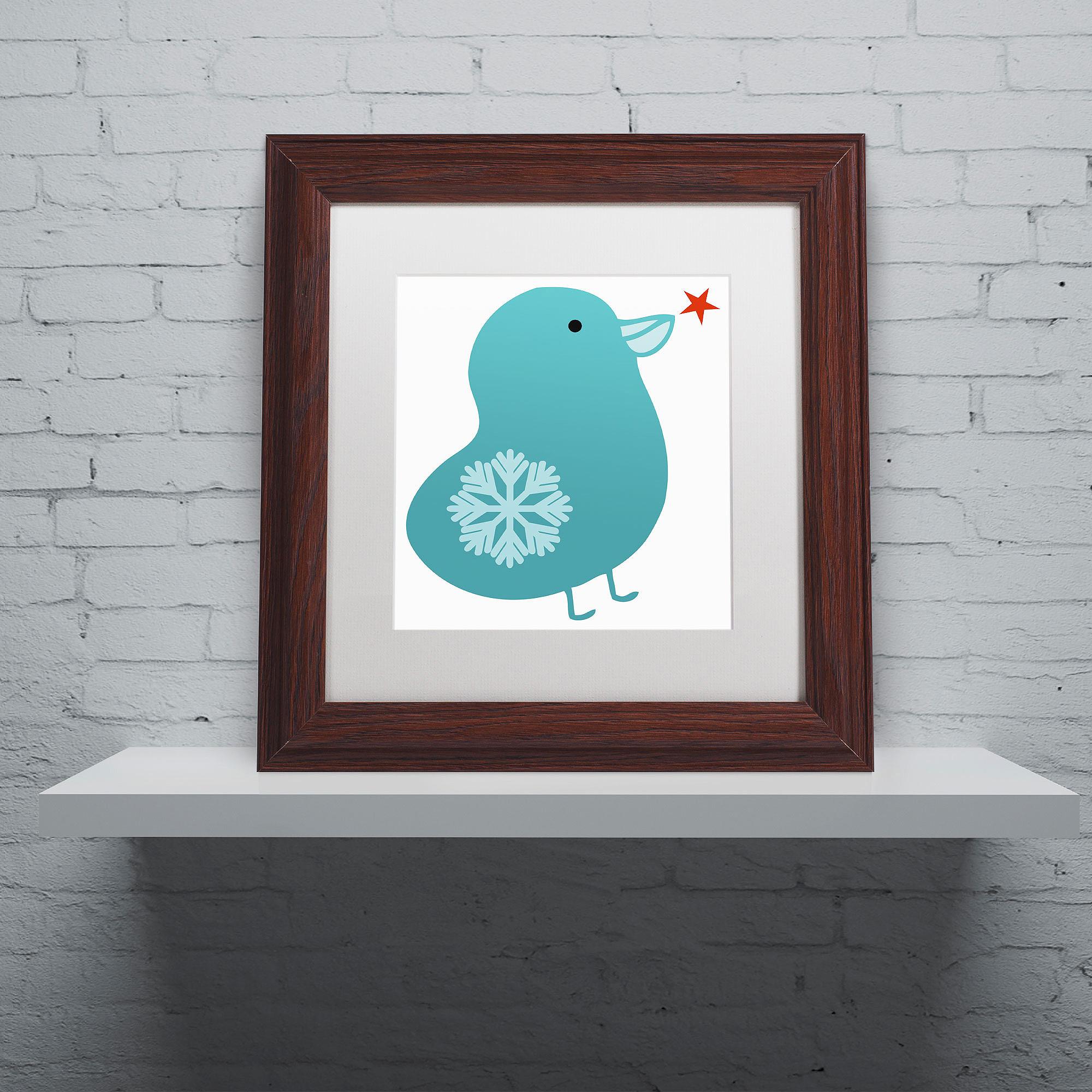 "Trademark Fine Art ""Snowflake Bird"" Canvas Art by Carla Martell, White Matte, Wood Frame"