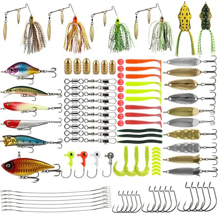 110Pc Mixed Minnow Fishing Lures Bass Bait Crankbait Treble Hook with Box for Freshwater Trout Bass Salmon thumbnail