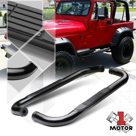 "Black 3"" Round Tube Side Step Nerf Bar Running Board for 87-06 Jeep Wrangler 88 89 90 91 92 93 94 95 96 97 98 99 00 01 02 03 04 05"