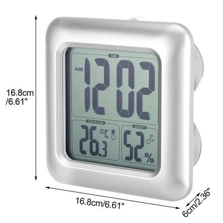 HURRISE Horloge murale d'aspiration, horloge murale de salle de bains, horloge murale numérique de salle de bains imperméable à l'eau murale d'aspiration d'horloge thermomètre hygromètre - image 7 de 9