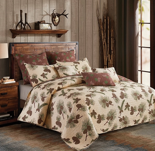 Phyllis Dobbs Beige Pine Cone Rustic Quilt and Sham Set - Queen and Full Size