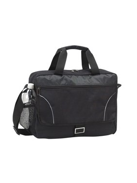 "College School 15.4"" Laptop Computer Briefcase Bag - Black, Made of 600d polyester trimmed with check nylon"