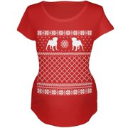 Pug Ugly Christmas Sweater Red Maternity Soft T-Shirt