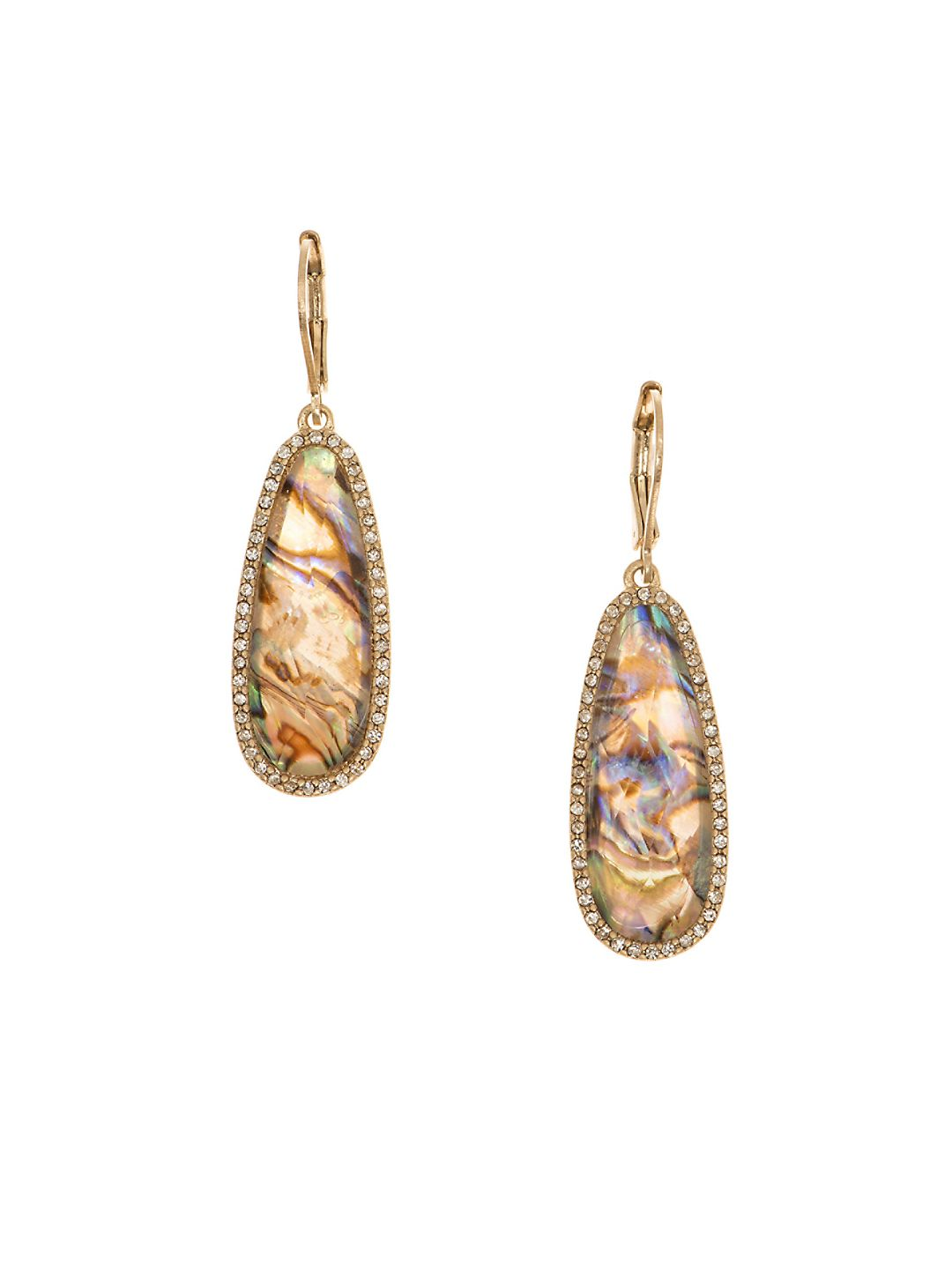 Pave-Edged Long Teardrop Earrings