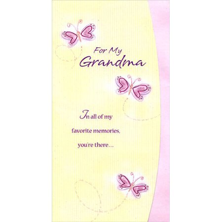 Designer Greetings Pink Foil Butterflies Short Fold: Grandma Mother's Day Card